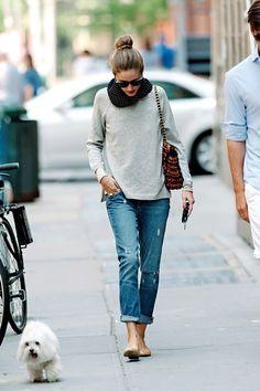Olivia Palermo. bun, grey tee, cuffed jeans, neutral flats #casual #streetstyle