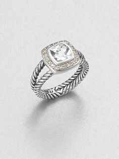 David Yurman Diamond Accented White Topaz Sterling Silver Ring- this is all i want in life right now