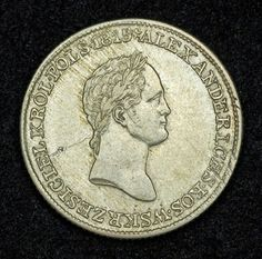 Russian coins for Poland - 1 Zloty Silver Coin of 1830, Russian Emperor Alexander I, Congress Kingdom of Poland.