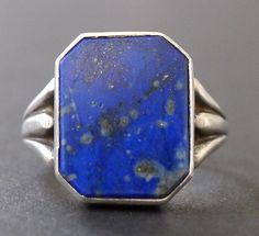 Vintage 1930's Art Deco Lapis Lazuli .925 Sterling Silver Ring