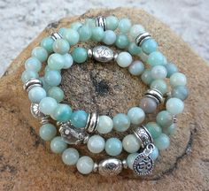 3 Beautifully Stacked Amazonite Bracelets accented by BenitoArvizo, $69.00
