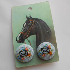 SALE Cross stitch secret letter stud earrings on vintage horse playing card