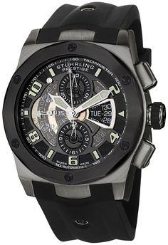 Stuhrling Prestige Men's 311B.33561 Prestige Swiss Made Automatic Valjoux 7750 Columbiad Chronograph Multi-Function Gunmetal Watch