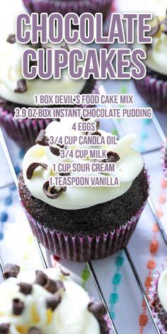 Wasc Cake Recipe, Box Cake Recipes, Cupcake Recipes, Recipe Box, Moist Chocolate Cupcakes, Recipe Using Chocolate Cake Mix, Chocolate Box Cake, Chocolate Recipes