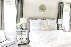 Grey Velvet Curtains, Gold Etagere, Summer Bedroom, Beaded Chandelier, Curtain Ideas, Cotton Duvet, Neutral Tones, Beautiful Bedrooms, Casual Summer