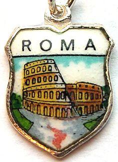 Rome Italy Roma Colosseum Vintage Silver & Enamel Souvenir Travel Shield Bracelet Charm