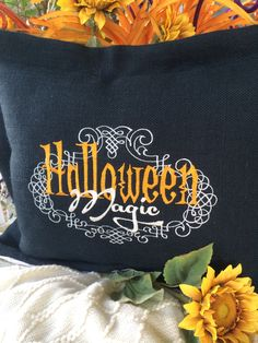 HALLOWEEN MAGIC at it's coolest! My black burlap custom designed pillow may be ordered at cindyjaegerdesigns@hotmail.com $68.00