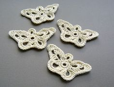 4 Crochet Appliques  Cream Longwing Butterfly by CaitlinSainio