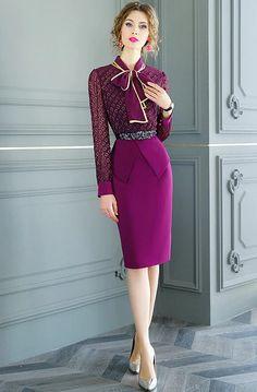 Estilo Real, Bow Blouse, Office Looks, Dress Suits, Royal Fashion, Classy Women, Work Attire, Office Wear, Designer Dresses