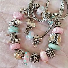 Personalized Photo Charms Compatible with Pandora Bracelets. Love the combo of pink & turquoise on this Trollbeads bracelet