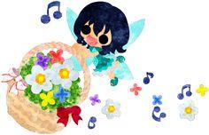 フリーのイラスト素材小さくて可愛い妖精と花かご  Free Illustration A cute little fairy and a flower basket   http://ift.tt/2oFRNS4