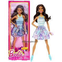 """Barbie Fashionistas 12"""" Doll - NIKKI (BGY20) in White/Blue/Purple Dress with Earrings and Purse"""