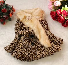 Baby Toddler Girls Boys Faux Fur Leopard Coat