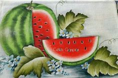 Tole Painting, Fabric Painting, Fabric Art, Arte Haida, Watermelon Decor, Oriental Flowers, Illustrations And Posters, Pictures To Paint, Acrylic Art