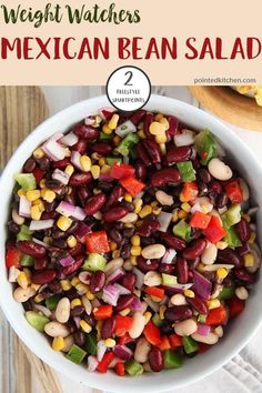 This tasty Mexican Bean Salad is just 2 Smart Points per generous serving on Weight Watchers Freestyle plan. Filling, healthy and tasty, this salad makes a great accompaniment for any Weight Watchers meal. Weight Watchers Bean Recipe, Salade Weight Watchers, Plats Weight Watchers, Weight Watchers Appetizers, Weight Watchers Vegetarian, Bean Recipes, Ww Recipes, Lunch Recipes, Mexican Food Recipes