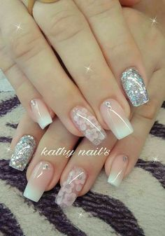 41 ways to putting glitter for nail polish idea 14 41 ways to putting glitter for nail polish idea 14 Classy Nails, Fancy Nails, Stylish Nails, Trendy Nails, Pink Nails, Cute Nails, My Nails, Best Acrylic Nails, Acrylic Nail Designs
