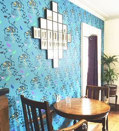 'Paradise Parade– Teal' Non woven Wallpaper. x Roll. Printed by Surface Print, fine grade wallpaper printers and environmentally friendly manufacturers in the UK. Printers, About Uk, Repeat, Pattern Design, Paradise, Teal, Surface, Wall Decor, Tapestry