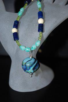 MERMAID Necklace Mood Pendant Blue Beads Sea by SoraCreations, $26.75