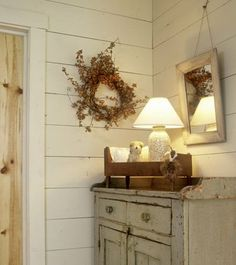 ..Make a wood top and paint old bureau for porch ..Country Sampler