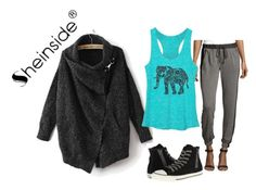 """""""black with sheinside"""" by rebelmix ❤ liked on Polyvore featuring Catherine Malandrino and Converse"""