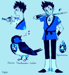 Here's a Crystal Gem!Yamamoto.His gem is Aquamarine.Tsuna Version| Gokudera Version.