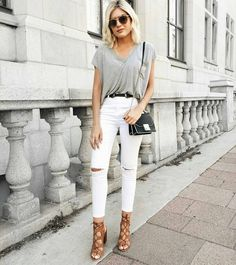 Grey tee and white jeans :@emily_luciano #fashionfademag