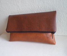 Brown and tan foldover clutch / zipper pouch by reabags on Etsy