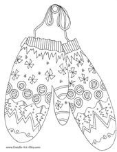 winter coloring pages--lots of doodles, coloring pages, art activities