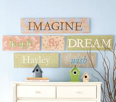 wall plaques using fabric and cricut for letters - mod podge!