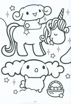 cute kawaii cinnamoroll unicorn coloring page