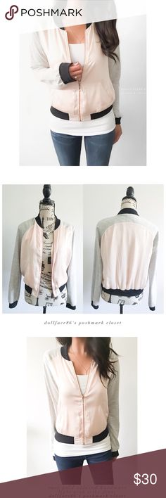 "CKH Clockhouse Pink Grey & Black Bomber Jacket This varsity style bomber jacket has a silky light pink front with marled grey stretchy sleeves, black trim & rose gold hardware. Euro brand purchased from ASOS  {actual color of item may vary slightly from pics}  *chest:20.5"" *waist:20.5"" *length:22"" *sleeves:30"" *material/care:polyester/cotton/tag is in German  *fit:Euro med/US sml fits like a small  *condition:has very light spot on front no rips  20% off bundles of 3/more items No Trades  NO…"
