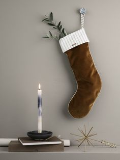 Christmas Velvet Stocking - Rust - Wall Decor Ferm Living on YOOX. The best online selection of Wall Decor Ferm Living. Christmas Trends, Christmas Night, Noel Christmas, Christmas Quotes, Christmas Pictures, Christmas Inspiration, Christmas Stockings, Christmas Wreaths, Christmas Decorations