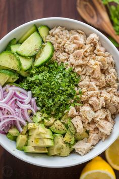 This Avocado Tuna Salad has incredible fresh flavor! Tuna Avocado Salad is loaded with protein. The avocado adds a healthy and highly satisfying creaminess. | natashaskitchen.com