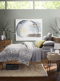 neutral bedroom with pantone lilac gray accents, purplish-gray, grayish-purple, clerestory windows, yellow accents