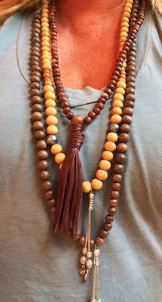 Wood, Pearls and Turkish Silver Tassels make  a great combination