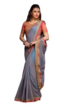 Stylee Lifestyle presents the all new collection of embroidered Saree. Pair them with matching accessories to look trendy and gorgeous. Sequin Work Border With Chain Stitch Resham Work & Jari, Crystal. DECLAIMER: The accessories on model are only for presentation purpose and not part of the product sold. The color of the product might slightly vary due to photoshoot effect or display brightness set-up.