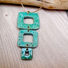 Original woman pendant 3 square terracotta enamelled green / turquoise blue, on taupe cord, h Ceramic Necklace, Ceramic Pendant, Ceramic Jewelry, Enamel Jewelry, Ceramic Beads, Ceramic Clay, Clay Beads, Glass Jewelry, Jewellery
