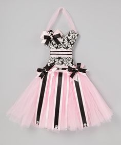 Take a look at this Pink Damask Tutu Bow Holder by Little Gem on #zulily today!