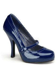 Retro Navy Blue Mary Jane Heels