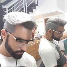 Hair Silver Men Platinum 42 New Ideas Hairstyles Haircuts, Haircuts For Men, Cool Hairstyles, Latest Hairstyles, Mens Hair Colour, Hair Color, Hair And Beard Styles, Short Hair Styles, Look Man