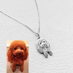 925 benutzerdefinierte Hund Portrait Halskette Pet Portrait | Etsy Picture Necklace, Dog Necklace, Engraved Necklace, Necklace Chain, Letter Pendant Necklace, Bridal Necklace, Personalized Necklace, Gifts For Pet Lovers, Gift For Lover