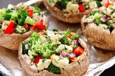 Healthy Chicken & Broccoli Stuffed Portabella Mushrooms