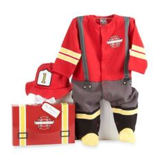 Baby Aspen Big Dreamzzz Baby Firefighter 2-Piece Layette Set in Gift Box from Bed Bath & Beyond