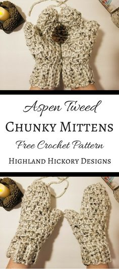 Crochet the chunky Aspen Tweed Mittens with this free pattern. They are crocheted using Lion Brand Yarn Hometown USA which is a size 6 super bulky yarn and a N (9.00 mm) hook. They work up super quickly and are so thick and warm, perfect for winter! There is also a matching hat and scarf. #crochet #freecrochetpattern