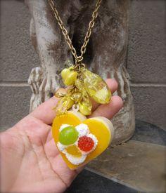 Pretty Yellow Tea Cake Anyone Necklace by StarfishStratagies, $25.00