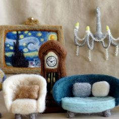 Learn How This Teeny-Tiny Furniture Was Made From Needle-Felted Wool Modern Dollhouse Furniture, Tiny Furniture, Miniature Furniture, Antique Furniture, Needle Felted, Wet Felting, Felt Doll House, Making Stained Glass, Dollhouse Accessories