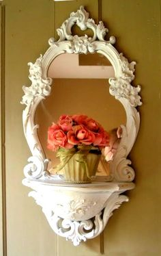 White Repainted Vintage Mirror . . . Pretty is Pretty . . . Syroco Era . . . Pearl Pink, White, Gold, Red, Black, Yellow on Etsy, $99.00