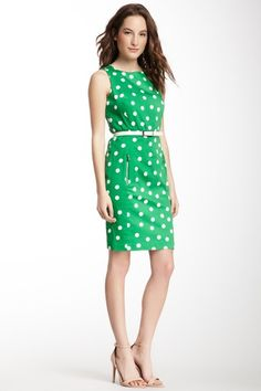 {Polka Dot Print Belted Dress} Anne Klein - love this kelly green dress! pockets!