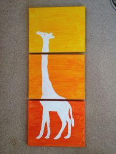 3 Panel Colorful Giraffe: $15