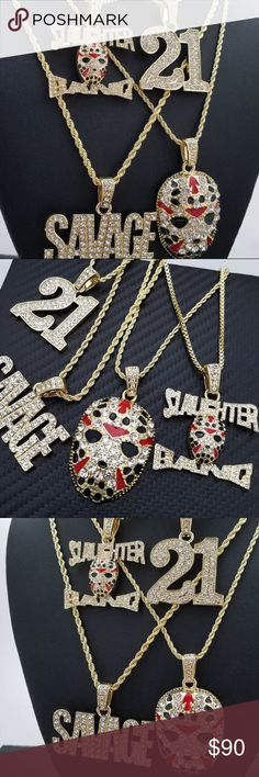 "21 SLAUGHTER GANG & SAVAGE PENDANT 4 NECKLACE Slaughter Gang Pendant Size: 1.5 "" x 1.85 "", Chain Size: 2mm/24 "" Box Chain  Mask Pendant Size: 1.25 "" x 2.25 "", Chain Size: 2mm/30 "" Rope Chain  '21' Pendant Size: 1.45 "" x 1.85 "", Chain Size: 2mm/24 "" Rope Chain  SAVAGE Pendant Size : 2 "" x 1.5 "", Chain Size: 2mm/30 "" Rope Chain  14K Gold plated Accessories Jewelry"